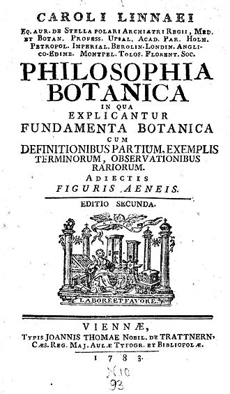 Philosophia Botanica - Title page to a 1783 edition of Linnaeus's Philosophia Botanica, first published in 1751