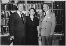 Photograph of Gerald R. Ford, Jr., with his Parents Mr. and Mrs. Gerald R. Ford, Sr., while Celebrating his Victory... - NARA - 187007.tif