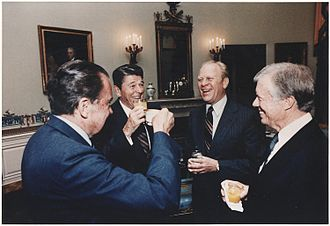 Vladivostok Summit Meeting on Arms Control - Presidents Nixon, Reagan, Ford, and Carter together in the White House in 1981