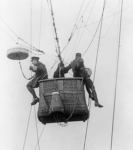 Kite balloon observers preparing to descend by parachute. Photography Q27506.jpg