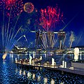 Photomontage of the Marina Bay Sands and the Merlion with fireworks, Singapore - 20100524.jpg
