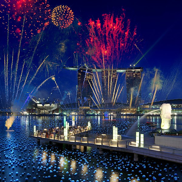 File:Photomontage of the Marina Bay Sands and the Merlion with fireworks, Singapore - 20100524.jpg