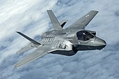 Pictured is the first of the UK's F-35B Lightning II jets to be flown to the UK. MOD 45160016.jpg