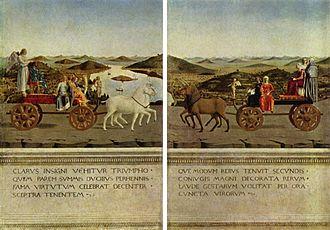The Duke and Duchess of Urbino - Scenes of allegories of triumph on the back of the double portrait of Battista Sforza and Federico Montefeltro.