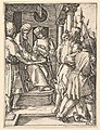 Pilate sitting on throne and washing hands while Christ is lead away by henchmen MET DP820325.jpg