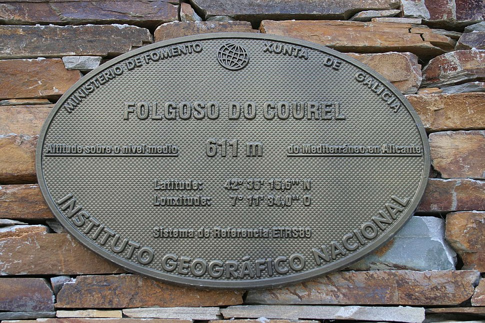 Placa altimétrica de Folgoso do Courel