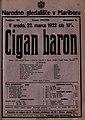 Plakat za predstavo Cigan baron v Narodnem gledališču v Mariboru 22. marca 1922.jpg