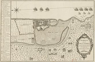 Fort St. George, India - Plan of Fort St George made during the French occupation of 1746–1749