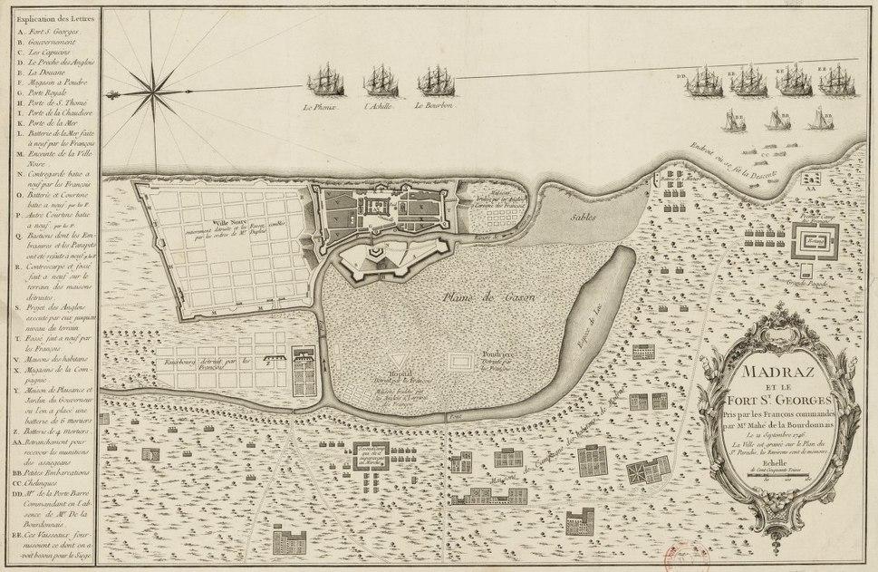 Plan de Madras pris par les Francais en 1746