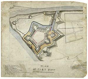 Fort Pitt Blockhouse - Image: Plan of Fort Pitt, 1761