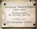 Plaque Germaine Tailleferre, 87 rue d'Assas, Paris 6.jpg
