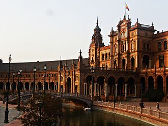 Plaza de España, Seville - Central building at the Plaza at sunset