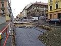 Plzeňská, rekonstrukce TT, přejezd Erbenovy (02).jpg