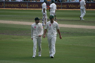 Michael Clarke (cricketer) - Clarke with Mitchell Johnson in 2009.