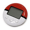 A small, circular electronic device. It's half red, half white with a screen and three buttons.