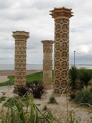 Portobello, Edinburgh - Three pillars in Coade stone from a local garden, re-erected on Portobello Promenade