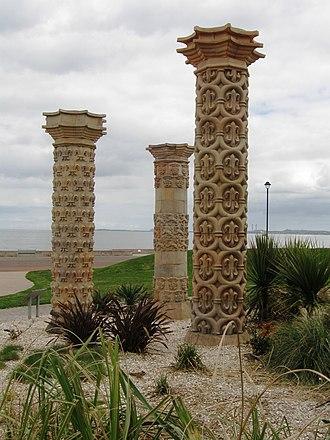 Portobello, Edinburgh - Three pillars in Coade stone from a local garden, re-erected on Portobello Promenade