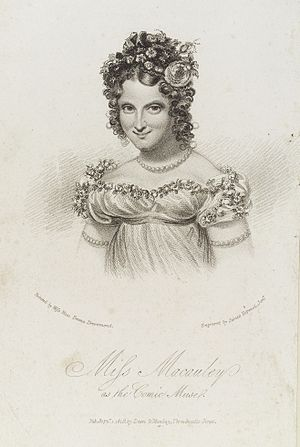 Eliza Macauley - Portrait of Miss Macauley as the comic musel, 1819 engraved by James Hopwood the Younger, after Rose Emma Drummond