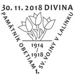 Príležitostná poštová pečiatka Divina - Pamätník obetiam 1. svetovej vojny v Lalinku.png