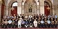 Pranab Mukherjee, the Vice President, Shri M. Hamid Ansari, the Prime Minister, Shri Narendra Modi, the Union Minister for Defence, Shri Manohar Parrikar and other dignitaries at the Defence Investiture Ceremony–II.jpg