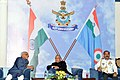 Pranab Mukherjee and the Vice President, Shri Mohd. Hamid Ansari at the 'At Home' hosted by the Chief of the Air Staff, Air Chief Marshal Arup Raha, on the occasion of 83rd Anniversary of Indian Air Force, at Air House.jpg