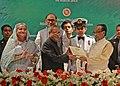 Pranab Mukherjee being presented the Bangladesh Liberation War Honour by the President of Bangladesh, Mr. Md. Zillur Rahman, at Dhaka, Bangladesh. The Prime Minster of Bangladesh Mrs. Sheikh Hasina is also seen (1).jpg