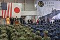 Premier Shinzo Abe spreekt Japanse en Amerikaanse militairen toe in de hangaar van de helikoptercarrier Kaga, -28 mei 2019 a.jpg