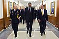 President Barack Obama walks with Defense Secretary Leon E. Panetta and Army Gen. Martin E. Dempsey, chairman of the Joint Chiefs of Staff, to a press briefing at the Pentagon.jpg
