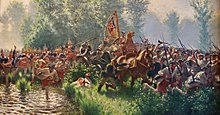 Painting of Prussian grenadiers chasing Saxon soldiers across a marshy field at the Battle of Hohenfriedberg