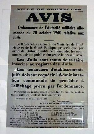 The Holocaust in Belgium - French language poster detailing the Anti-Jewish laws enacted in Belgium on 28 October 1940.