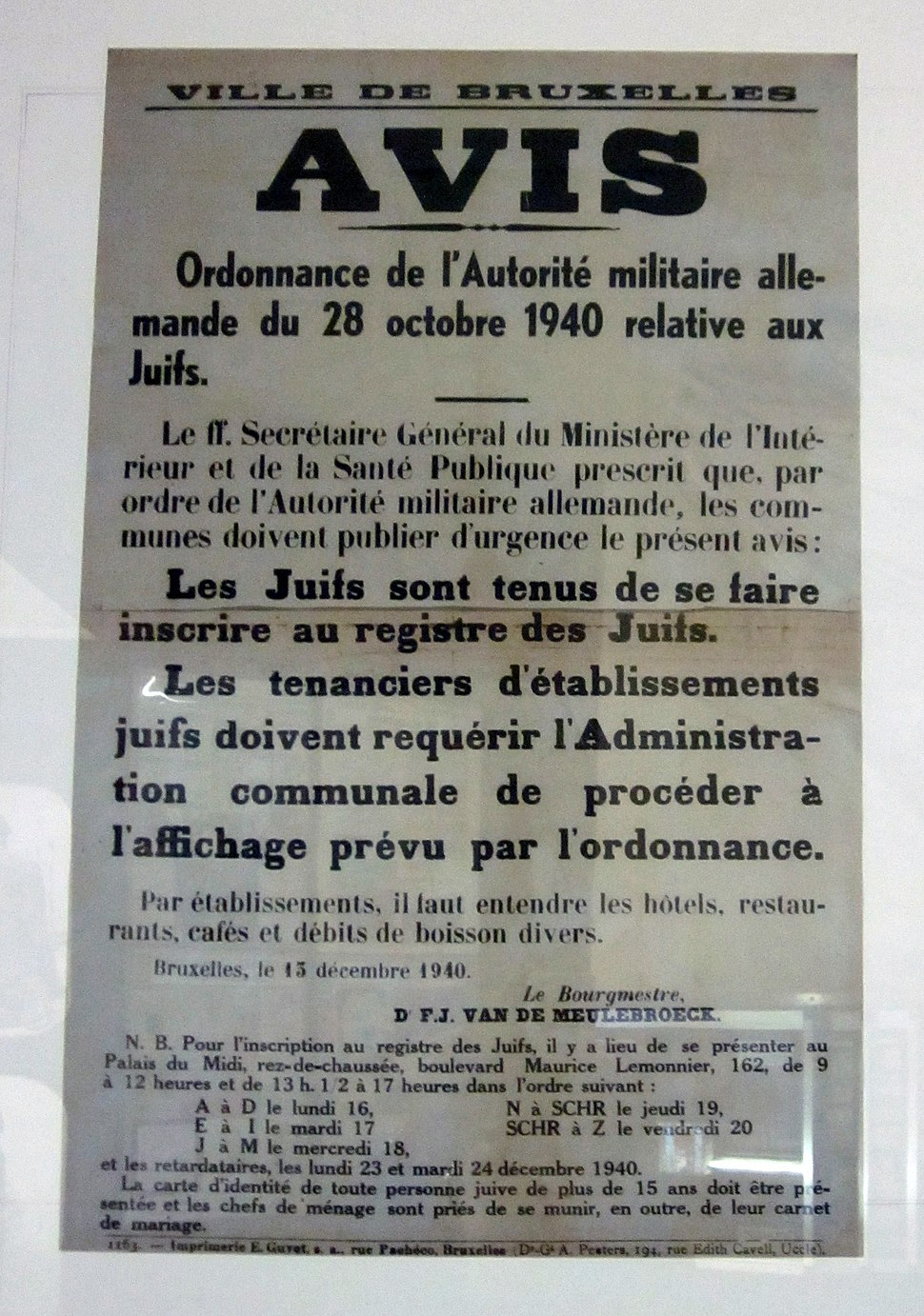 Proclamation about Jews in German-occupied Belgium