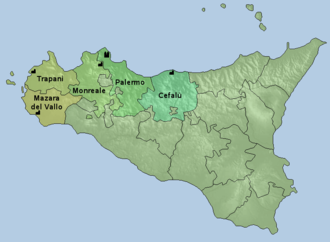 Roman Catholic Archdiocese of Palermo - Map of the ecclesiastical province of Palermo.