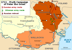 Kaart van de Prut-campagne