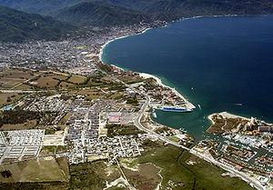 Puerto Vallarta - Aerial view of marina, cruise ship docks and downtown Puerto Vallarta