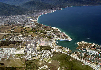 Puerto Vallarta - Aerial view of marina, cruise ship docks and downtown Puerto Vallarta
