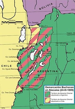 Puna de Atacama dispute - Green and Red:  Atacama Territory awarded to Argentina   Yellow and Red: Atacama Territory awarded to Chile