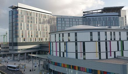 NHS Scotland's Queen Elizabeth University Hospital, Glasgow. It is the largest hospital campus in Europe. QEUH2.jpg