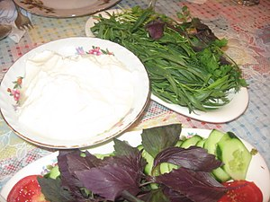 Qatiq and salad from Azerbaijan.jpg
