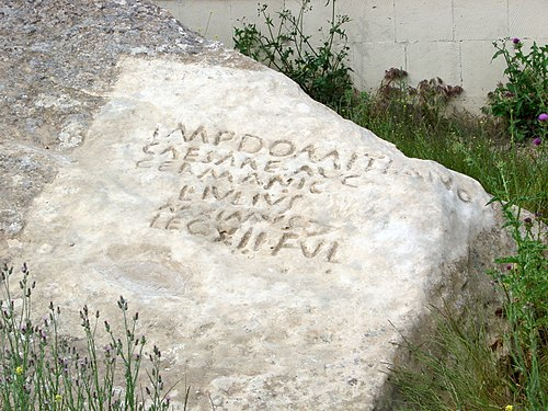 A rock inscription near Boyukdash mountain, Azerbaijan, mentioning Domitian and Legio XII Fulminata. Cf. Caucasian Albania. IMP. DOMITIANO CAESARE AVG. GERMANICO ... LEG. XII FVL. Qobustan inscription.jpg