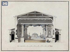 Giacomo Quarenghi - Quarenghi's Hermitage Theatre in St Petersburg, original drawing in the National Museum in Warsaw.