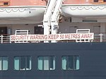 Queen Elizabeth Warning Notice on Starboard Side Port of Tallinn 3 August 2018.jpg