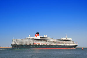 Vista-class cruise ship - Queen Elizabeth departing Southampton 2011.