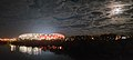 Queensland Country Bank Stadium at night in June 2020 from the Fletcher Street Bridge.jpg