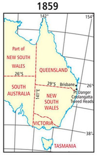 Queensland borders - Queensland boundaries as proclaimed at separation in 1859