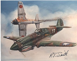 Robert T. Smith - Painting of Curtiss P-40 Warhawk in  the Republic of China Air Force, autographed by R.T. Smith.