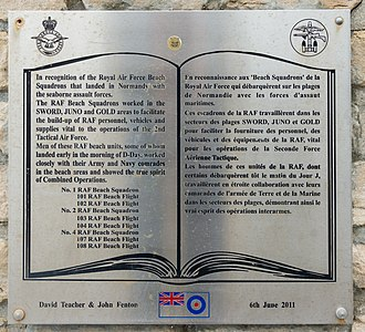 No. 85 Group RAF - Memorial to 1, 2 and 4 Beach Sqns RAF at Arromanches