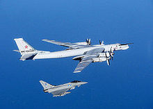 A No. 6 Squadron Eurofighter Typhoon FGR4 intercepts a Russian Air Force Tupolev Tu-95 'Bear'.