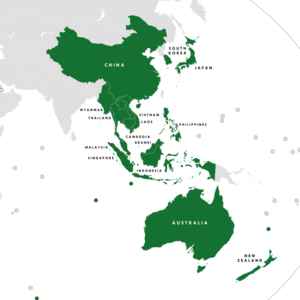 Regional Comprehensive Economic Partnership - The 16 member countries of the RCEP   Blue: ASEAN   Purple: ASEAN Plus Three   Teal: ASEAN Plus Six