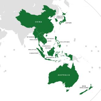 Regional Comprehensive Economic Partnership - The 16 member countries of the RCEP   Blue: ASEAN   Purple: ASEAN Plus Three   Teal: ASEAN Plus Six
