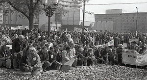 Golaniad - An anti-communist rally in the University Square of Bucharest, 1990